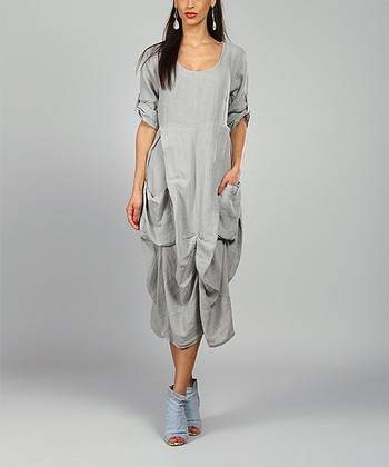 Gray Pamela Linen Scoop Neck Dress
