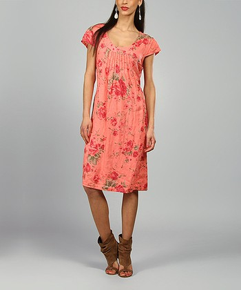 Coral & Fuschia Anna Linen Shift Dress