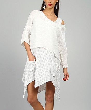 White Elsa Linen Handkerchief Dress