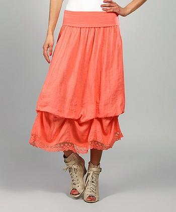 Coral Valery Linen Maxi Skirt