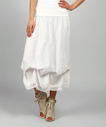 White Valery Linen Maxi Skirt