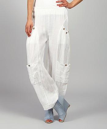 White Kelya Linen Cargo Pants