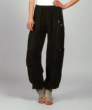 Black Kelya Linen Cargo Pants