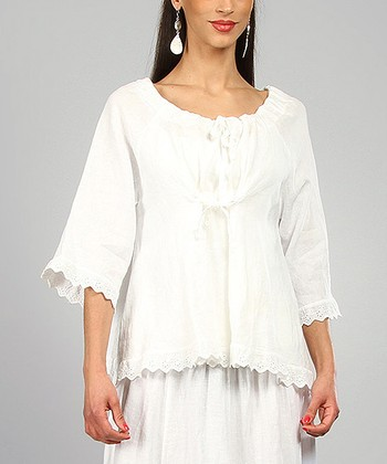 White Marie Linen Peasant Top