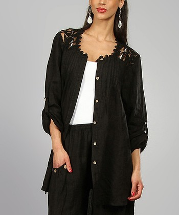 Black Lace-Yoke Chemisene Linen Tunic