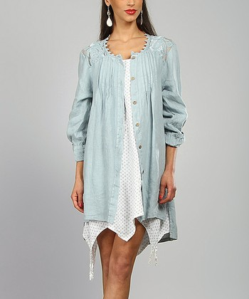 Sky Lace-Yoke Chemisene Linen Tunic