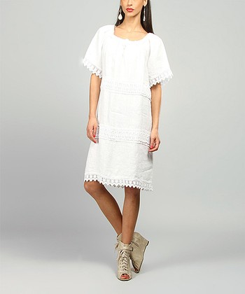 White Elsa Linen Shift Dress