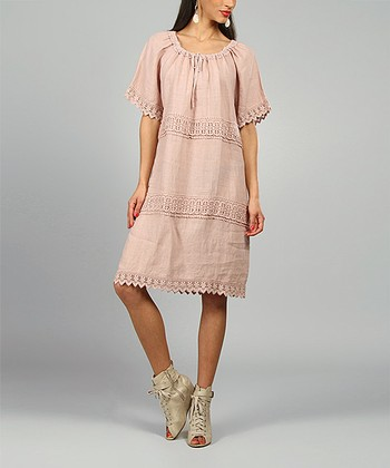 Pink Elsa Linen Shift Dress