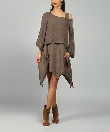 Choco Claire Linen Handkerchief Dress
