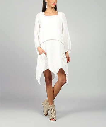 White Claire Linen Handkerchief Dress