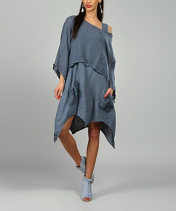 Blue Claire Linen Handkerchief Dress