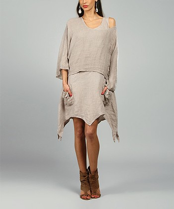 Beige Claire Linen Handkerchief Dress