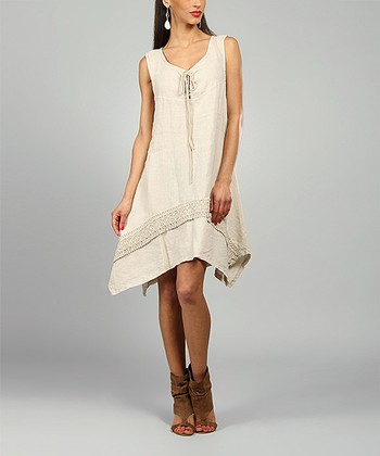 Sand Leslie Linen Handkerchief Dress