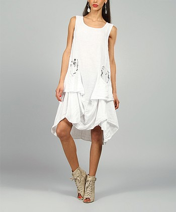White Shelly Linen Scoop Neck Dress