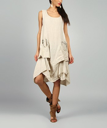 Sand Shelly Linen Scoop Neck Dress