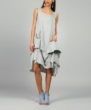 Gray Shelly Linen Scoop Neck Dress