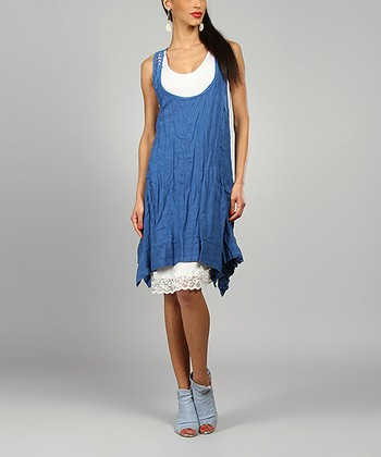 Blue Cobalt Amelie Linen Handkerchief Dress