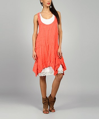 Coral Amelie Linen Handkerchief Dress