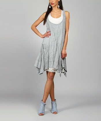 Light Gray Amelie Linen Handkerchief Dress