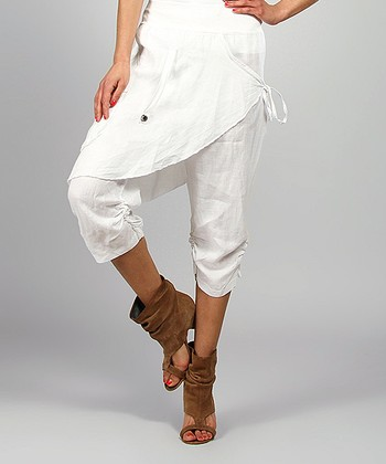 White Rosy Skirted Linen Harem Pants