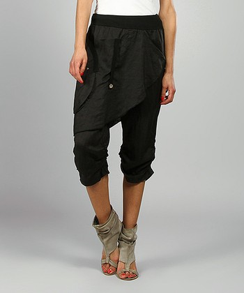 Black Rosy Skirted Linen Harem Pants