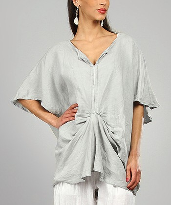 Light Gray Rivka Linen Cape Sleeve Tunic