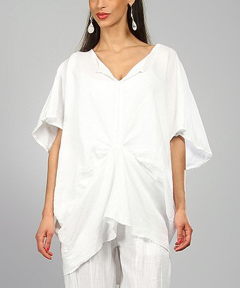 White Rivka Linen Cape Sleeve Tunic