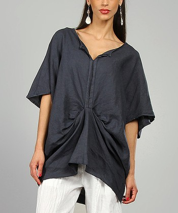 Navy Rivka Linen Cape Sleeve Tunic