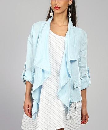 Sky Cascading Roll-Tab Linen Open Jacket