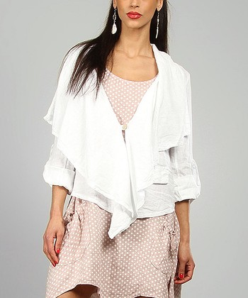 White Agathe Linen Open Jacket
