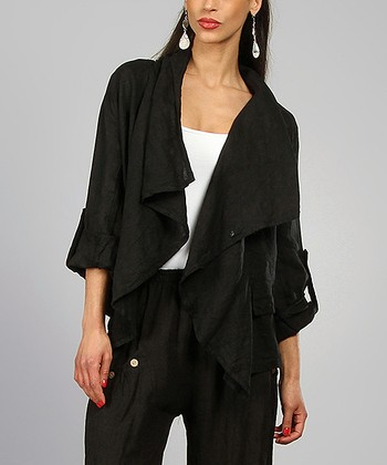 Black Agathe Linen Open Jacket