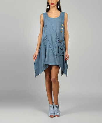 Blue Laura Linen Scoop Neck Dress