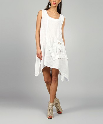 White Laura Linen Scoop Neck Dress