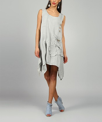 Gray Laura Linen Scoop Neck Dress