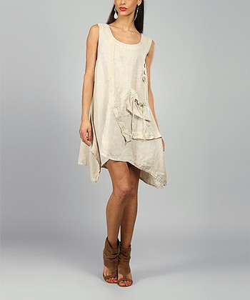 Sand Laura Linen Scoop Neck Dress