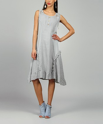Gray Lydia Linen Scoop Neck Dress