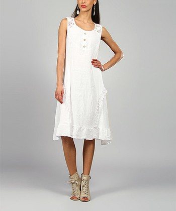 White Lydia Linen Scoop Neck Dress
