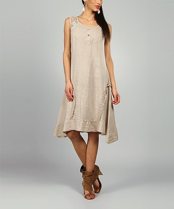 Beige Lydia Linen Scoop Neck Dress