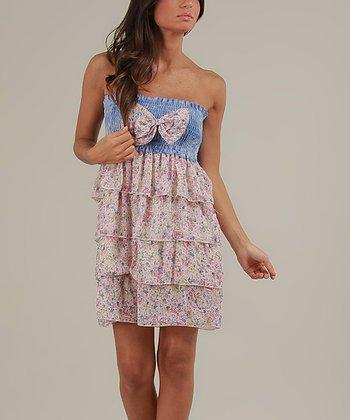 Blue & Pink Vanessa Strapless Dress