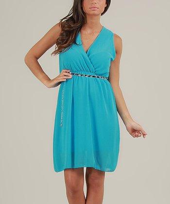 Blue Nora Surplice Dress