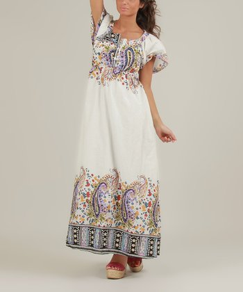 White & Violet Olivia Maxi Dress
