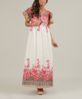 White & Pink Olivia Maxi Dress