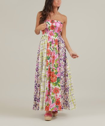 White & Pink Ellen Maxi Dress