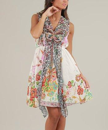 White & Orange Sally Sleeveless Dress
