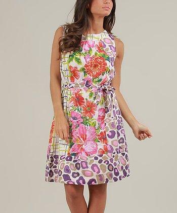 White & Violet Terry Sleeveless Dress