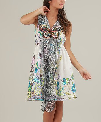 Blue & White Sally Sleeveless Dress