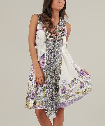 White & Violet Sally Sleeveless Dress