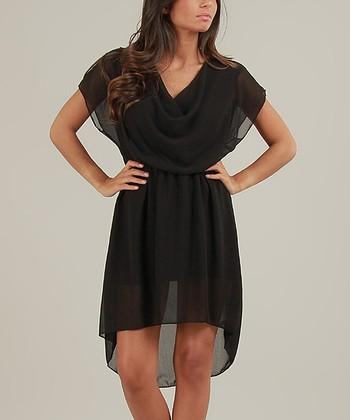 Black Lucie Drape Dress