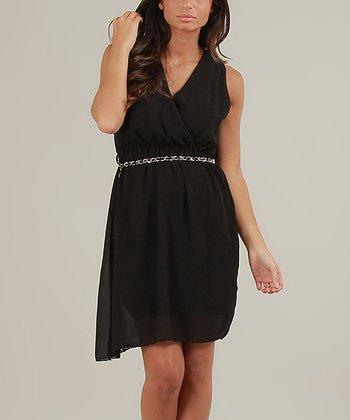 Black Nora Surplice Dress