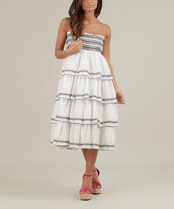 White & Black Dora Strapless Dress